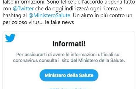"""Coronavirus, Speranza: """"Accordo con Twitter per contrasto alle fake new"""